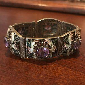 QVC Artisan Sterling Amethyst Cloisonne Bracelet